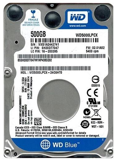 """HP Wd Blue 500Gb 2.5"""" Sata Dahili Notebook Sabit Disk Renkli"""